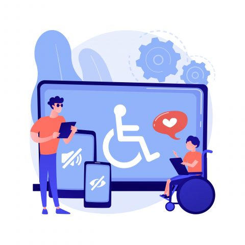 Electronic accessibility abstract concept vector illustration. Accessibility to websites, electronic device for disabled people, communication technology, adjustable web pages abstract metaphor.